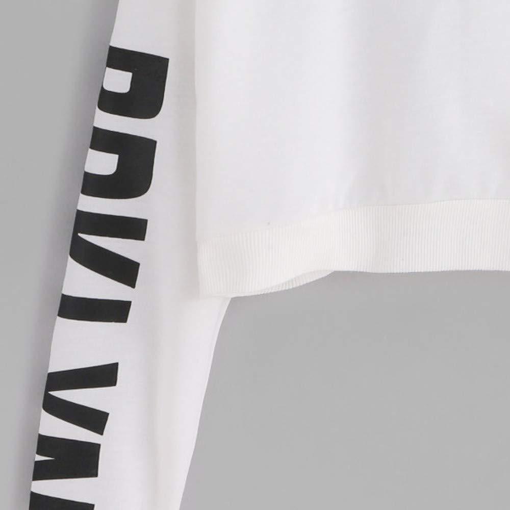 Laimeng/_World Womens Long Sleeve Letters Printed Hooded Sweatshirt Pullover Tops Blouse Hoodies