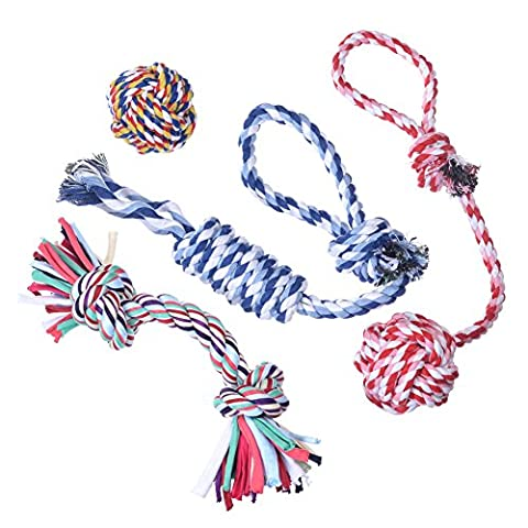 Hipetz- Dog Toys 4 Pack Gift Set - Durable Puppy Chew Rope Toy For Small to Medium Dogs