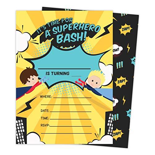 Superhero Boy 3 Happy Birthday Invitations Invite Cards