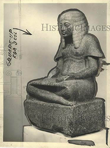 Egyptian 18th Dynasty - 1923 Press Photo Statue of Harmhab of Eighteenth Egyptian Dynasty - mjx23360 - Historic Images