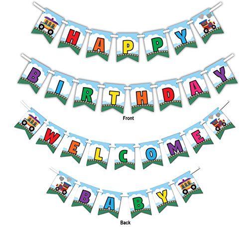 Train Multi-Use Happy Birthday or Welcome Baby Shower Party Banner Decoration (23ft Ribbon) -