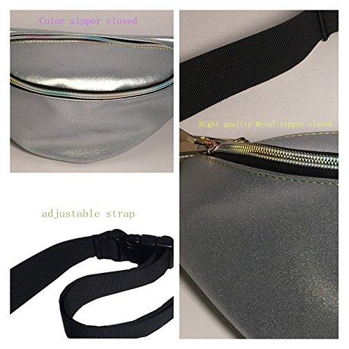 Flada - Bolso mochila  para mujer blanco estilo 1 Medium plata