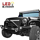 LEDKINGDOMUS 07-18 Jeep Wrangler JK Rock Crawler Front Bumper with LED Light & D rings