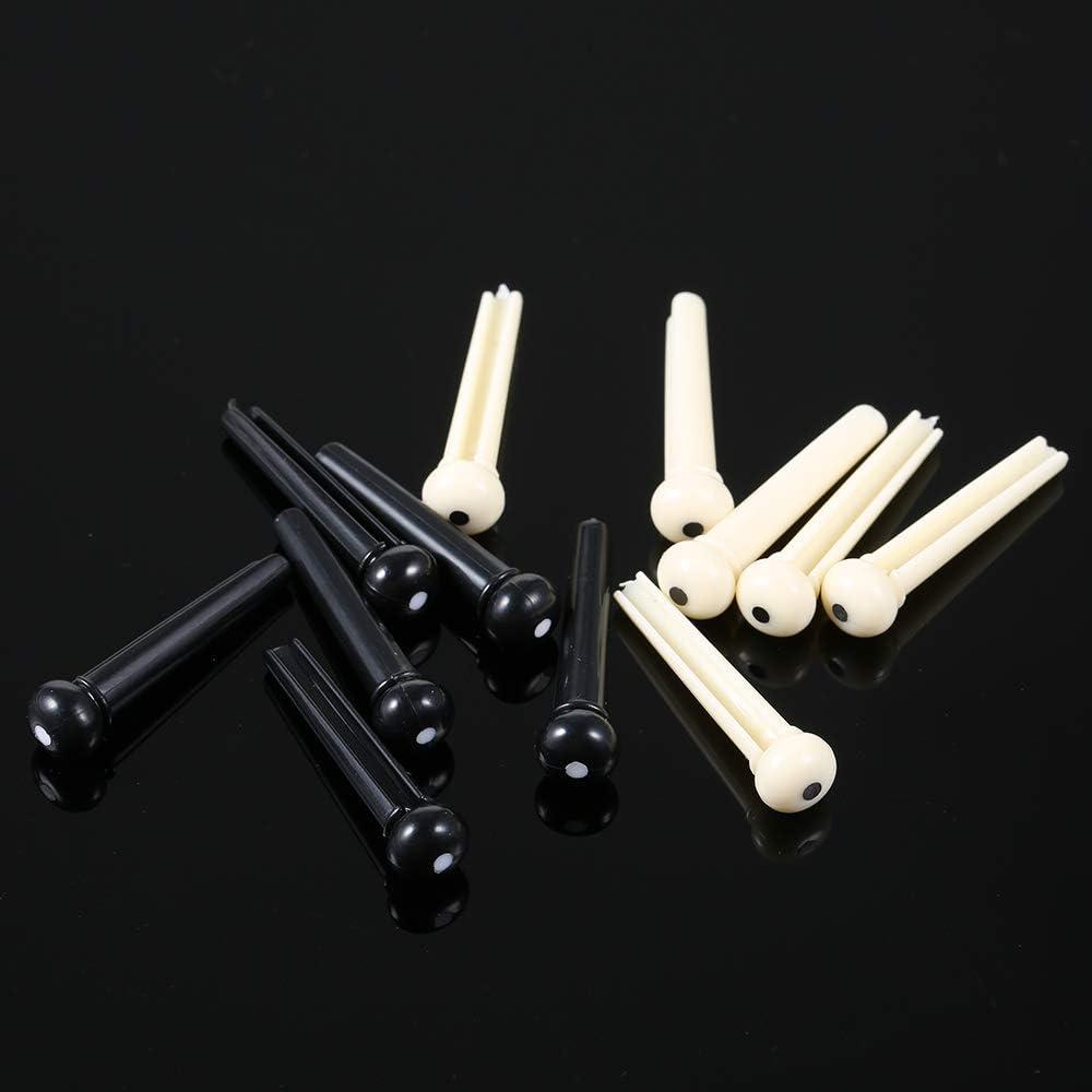 Guitarra ac/ústica de pl/ástico Puente de puente Pin Silla de montar y tuerca Cuerda Pin Negro