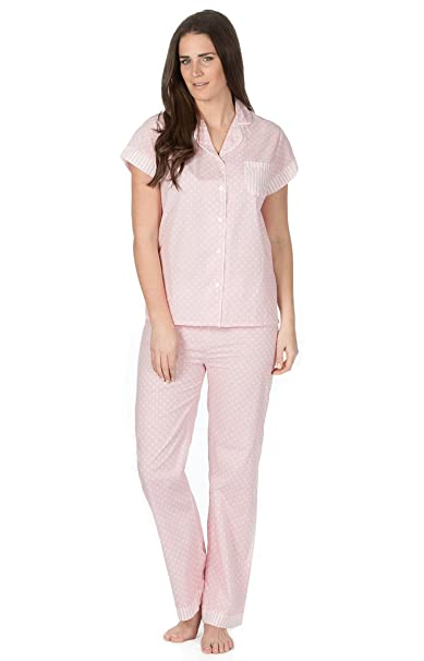 Ladies Womens Woven 100% Cotton Pyjamas Pyjama Top and Bottoms Set (Small 8a0079ba2