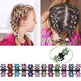 TecUnite 60 Pieces Baby Girls Hair Claw Clips Crystal Rhinestone Mini Hair Clips Mix Colored Flower Hair Bangs Pin Kids Women Hair Accessories