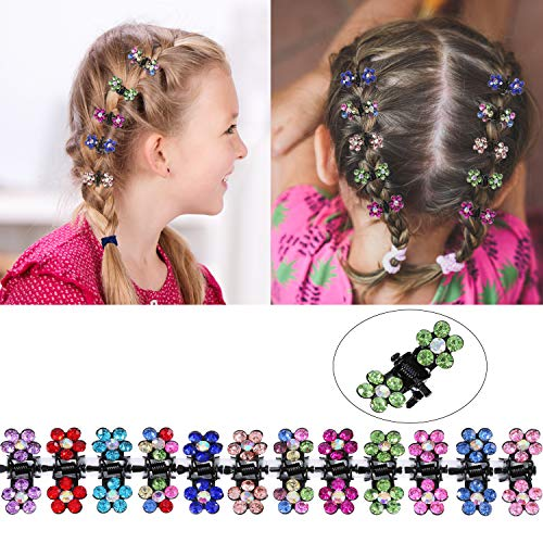 TecUnite 60 Pieces Baby Girls Hair Claw Clips Crystal Rhinestone Mini Hair Clips Mix Colored Flower Hair Bangs Pin Kids Women Hair Accessories