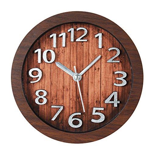 AENMIL Creative 3D Digital Non-ticking Clock, Retro Wood Pattern Decor Silent Desk Alarm Clock For Home Pub Dormitory Living Bedroom - (Big Clock Necklace)