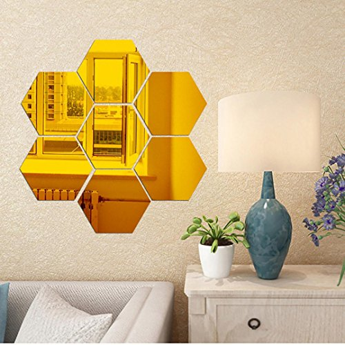 12PCS DIY 3D Removable Hexagon Shaped Mirror Wall Sticker Decal Mural Home Room - 3