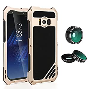 Samsung Galaxy S8 Plus Lens Kit Case, SHEROX - 3 in 1 198° Fisheye Lens + 15X Macro Lens + Wide Angle Lens with IP54 Dustproof Shockproof Aluminum Case for Galaxy S8+