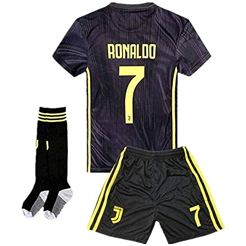 (Sulnasport Juventus Away 2018/2019 Cristiano Ronaldo 7 Kids/Youth Soccer Jersey Color Black Size 11-12Y/26)