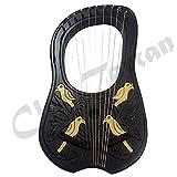 Lyre Harp 10 Metal Strings Shesham Wood Black & Gold Carrying Case Free Strings Set