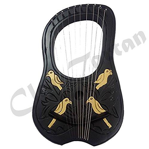 Lyre Harp 10 Metal Strings Shesham Wood Black & Gold Carrying Case Free Strings Set by Clan Tartan