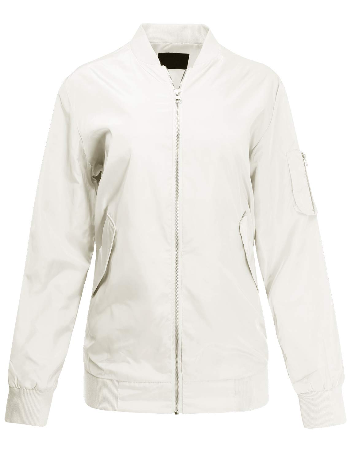 Ladies' Code Classic Style Light Weight Zip Up Long Line Bomber Jacket White S Size