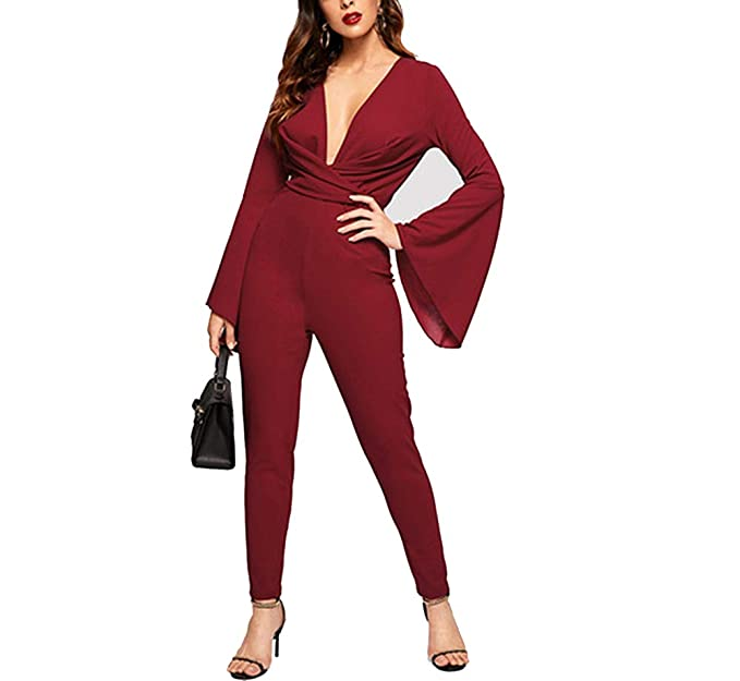 4c5d85d43b6 Amazon.com  Sexy Deep V Neck Cross Wrap Bell Sleeve Fitted Carrot Jumpsuit  Women Spring Mid Waist Plain Elegant Jumpsuits  Clothing