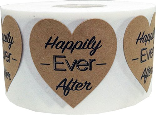 (Happily Ever After Heart Shaped Natural Kraft Stickers 1 1/2 Inch 500 Adhesive Stickers On A Roll)