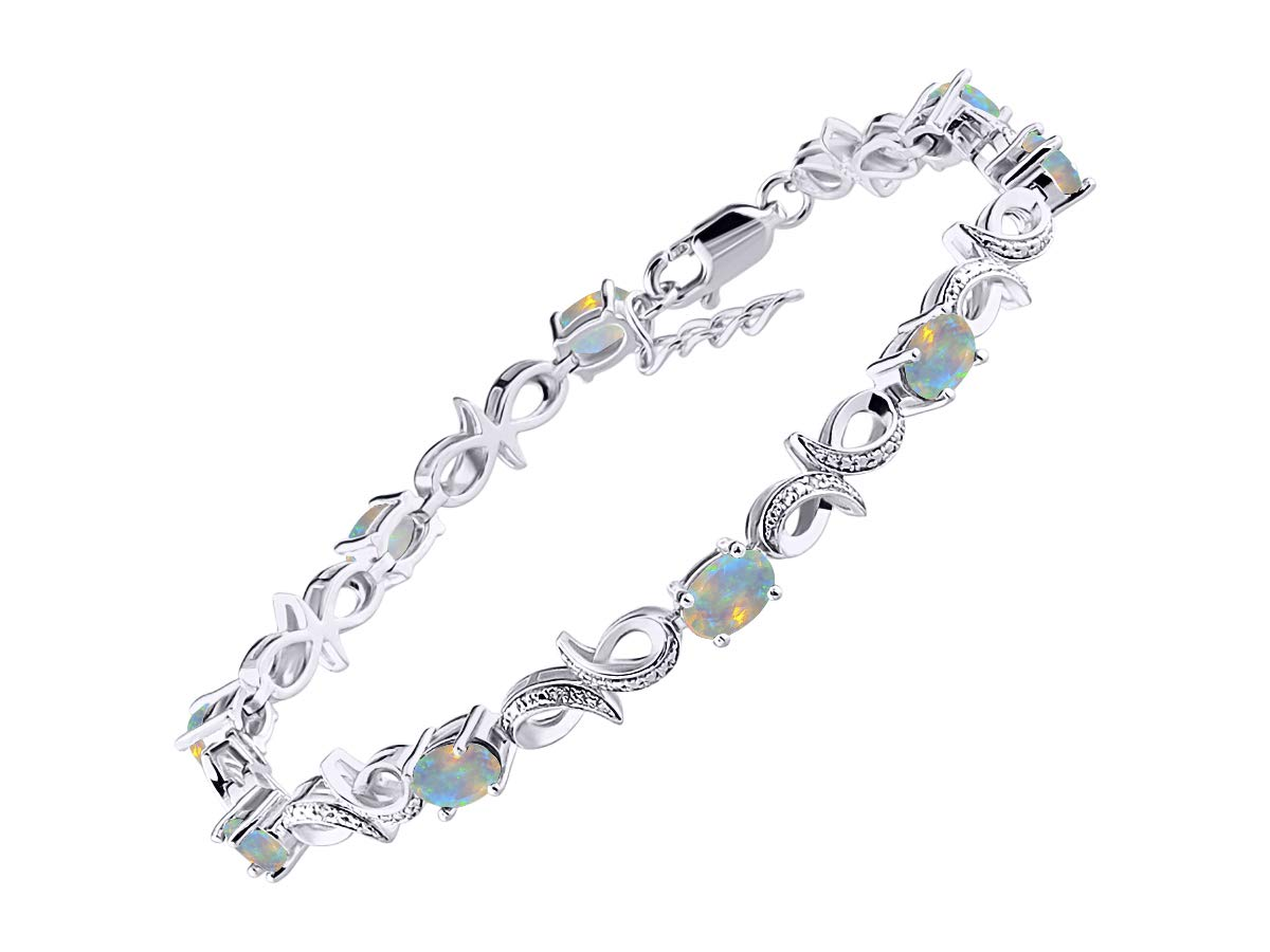 Stunning Exotic Ethiopian Opal & Diamond Infinity Tennis Bracelet Set in Sterling Silver - Adjustable to fit 7'' - 8'' Wrist