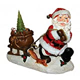 Polyresin Santa Pulling Sled with Light Christmas Holiday Decor Figurine 14.75'' inch