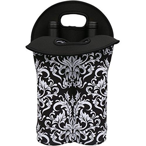 Neoprene Two Bottle Tote (2-Bottle Insulated Neoprene Wine/Water/Beverages Bottle Tote Wine Carrier Picnic Cooler Bag (Black Flower))
