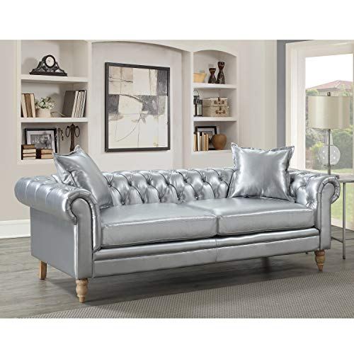 AC Pacific Juliet Collection Contemporary Living Room Chesterfield Sofa Linen Fabric Upholstered Button Tufted, Silver (Linen Chesterfield)