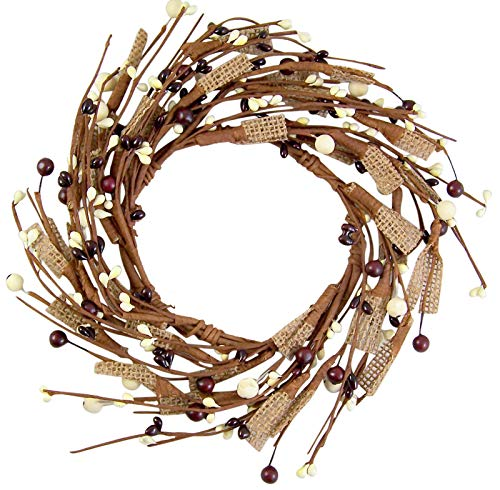 Brown Artificial Wreath - Candle Wreaths Burgundy and Cream Artificial Berries Ring, 9 Inch