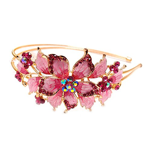 New pink Crystal Rhinestone gold tone metal big Flower design Headband #1212 by ()