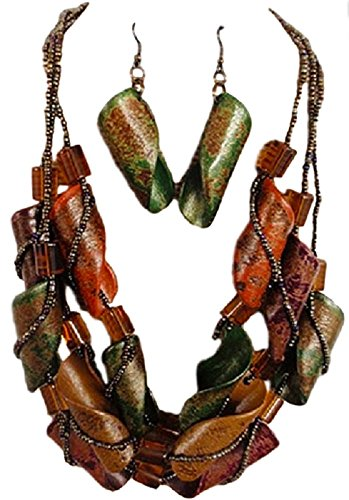 Wood Bead Necklace Earrings - IVETH 3 Strands Seed Beads with Curly Wood Necklace Set Multi Color (Green Yellow Brown Orange)