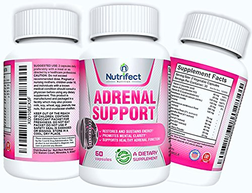 Nutrifect Nutrition Adrenal Support Supplements Keep You Sharp & Ready to Move in a Flash, Combats Stress, Anxiety & Fatigue, Vitamins B-6, B-12, Ashwaganda, Magnesium & More, 60 Capsules