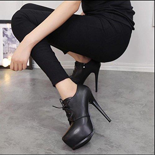 KHSKX-Sexy Taiwán Impermeable Alta Con Zapatos Desglosadas Por La Correa De Sujeción Y Botas Botas Desnudo 13Cm Negro 34
