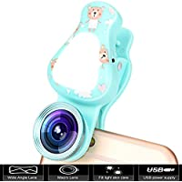 Cell Phone Camera Lens, 3 in 1 Rechargeable LED Selfie Lights with 15X Macro Lens & 140°Wide Angle Lens, Adjustable Brightness Fill Light for iPhone, Samsung Galaxy, iPad ect Smartphones (Blue)