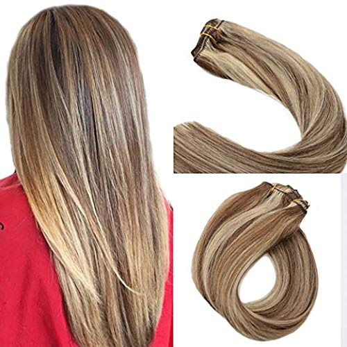 - Clip in Hair Extensions Brown with Blonde Highlights Clip on hair Extensions 7pieces 70grams 16
