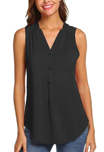 62d1892422499 Hount Womens Chiffon Sleeveless Shirt Button Casual Tunic Tank Tops with  Pockets (Black