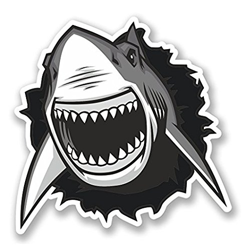 (3 Pack - Great White Shark Vinyl SELF ADHESIVE STICKER Decal - Sticker Graphic - Construction Toolbox, Hardhat, Lunchbox, Helmet, Mechanic, Luggage)