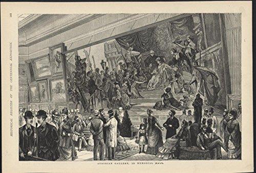 Austrian Gallery Memorial Artwork Philadelphia Centennial 1876 antique - 1876 Engraving Antique