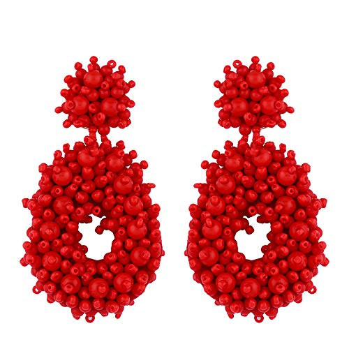 Statement Drop Earrings for Women - Large Handmade Teen Girls Juniors Bohemian Beaded Hoop Earrings Red ()