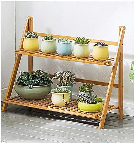 Soporte plegable para macetas YYHJ de Strudy, para plantas, color primario, marco de bambú, 2 pisos, escalera de piso a techo, balcón, salón, interior/exterior, 50/70/100 31 56 cm, estante de almacenamiento para