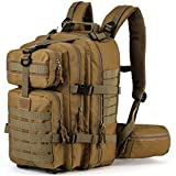 SHARKMOUTH Military Tactical Backpack, Assault Army hydration pack, Molle Bug Out Bag rucksack, Survival Outdoor School Daypack for Camping Hiking Hunting Climbing Travel or Trekking 33L