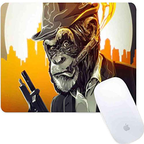 Computer Game Square Round Mouse Pad Gentleman Orangutans Orangutans Men Gentleman Orangutans Cigarettes and Gun The City and The Moon Smooth Light Skid Proof Rubber Series