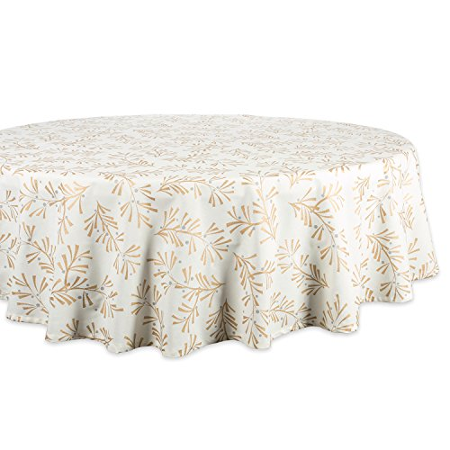 DII 100% Cotton, Machine Washable, Printed Metallic Holiday Tablecloth - 70 Round, Seats 4-6 People, Metallic Holly Leaves
