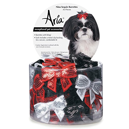 Aria Nina Sequin Barrettes for Dogs, 36-Piece Canisters Dog Barrettes Canister