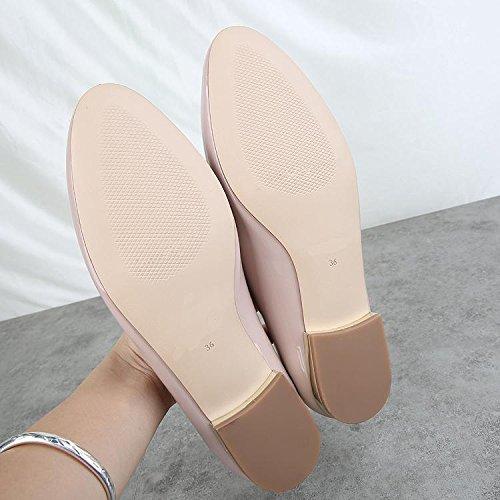 &huo Zapatos planos, conjuntos salvajes de pies, zapatos casual perezoso, bajo de charol, zapatos de moda 37