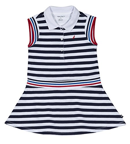- Nautica Little Girls' Sleeveless Striped Polo Dress, Navy, 6X