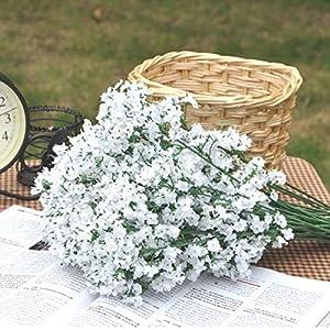 HNXZL 12 Pcs Artificial White Babysbreath Gypsophila Flower Wedding Party Home Decor 69