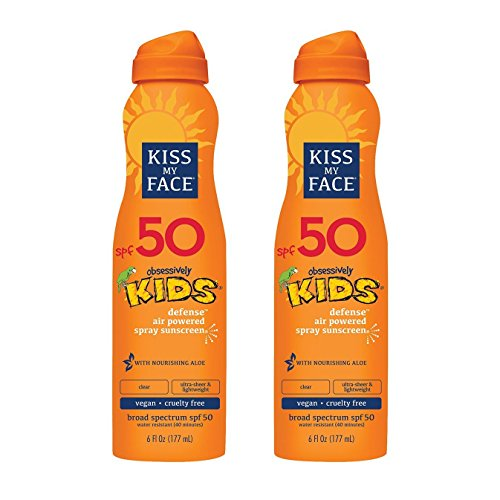 Kiss My Face Kids Defense Continuous Spray Sunscreen Spf 50 Sunblock, 6 Ounce, 2 (Spf 40 Active Sunblock)