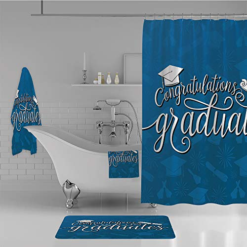 iPrint Bathroom 4 Piece Set Shower Curtain Floor mat Bath Towel Multi Style,Graduation Decor,College Celebration Ceremony Certificate Diploma Square Academic Cap,Blue and White,Diversified Design. by iPrint (Image #1)