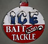 Metal BAIT AND TACKLE Sign ICE Garage Man Cave Home Decor Recycled Fish Fishing , House decor , Decor for the garden , Decor for garage and garden by OutletBestSelling