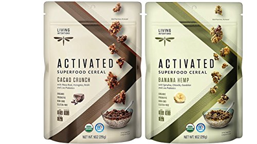 Living Intentions Gluten Free Superfood Probiotic Cereal 2 Flavor Variety Bundle: (1) Banana Hemp, and (1) Cacao Crunch, 9 Oz. Ea. (2 Bags)
