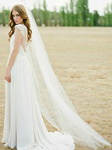 (Barogirl Wedding Veil Comb Bridal Cathedral Veil 1 Tier Drop Veil Wedding Rhinestones Hair Comb for Brides, 118 Inches (Ivory-Raw Cut))