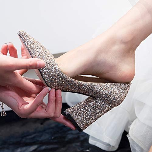 Yukun Schuhe mit hohen Absätzen Hochzeit Schuhe Hochzeit Abendessen Kleid Kleid Kleid Brautjungfer Chorus Dick Mit Weiblichen High-Heels eaf06d
