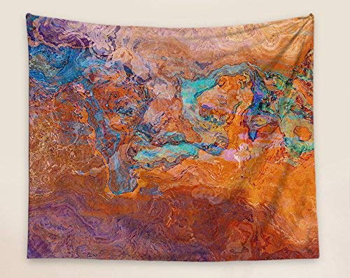 50x60 wall hanging in turquoise and orange turquoise and orange Abstract Art Tapestry Southwest Archetype
